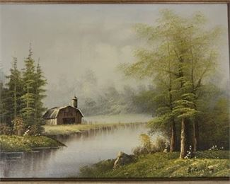 Lot 007 Framed Oil On Canvas Signed B. Coltman Barn/Water Scene