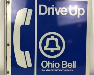 Lot 015 Large 2 Sided Ohio Bell Drive Up Telephone Flange Sign
