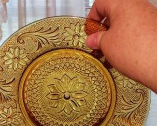 Tiara Amber glass cake plate