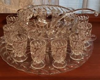 Punch bowl set with sandwich tray