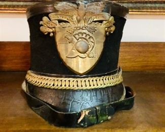 VINTAGE WEST POINT CADET MILITARY ARMY TAR BUCKET PARADE HAT UNIFORM SHAKO DRESS