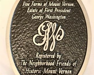 Mount Vernon Historic plaque