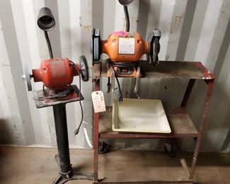 """4028: 2 Bench Grinders with Pedestal Stand and Bench Measures approx 18""""x26""""x34"""""""
