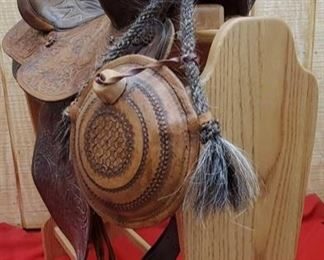 """995:  Simco Western Saddle and Leather Canteen with Braided Horse Hair Measures approx 15"""", Model 7450"""
