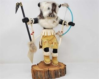 """1075: Wooden Native American Buffalo Kachina Doll Measures approx 15"""" tall with stand"""
