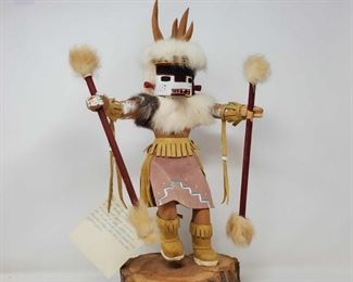 """1088: Wooden Navajo Deer Kachina Doll Measures approx 18"""" with Stand"""