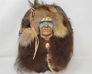"1080: Commemorative Native America Cheif Joseph on Tortoise Shell Measures approx 13"" x 11"""