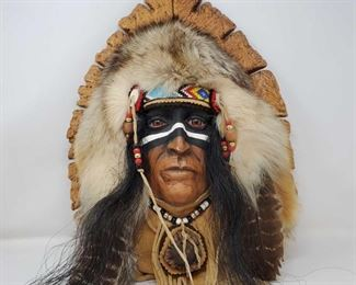 """1081: Commemorative American Chief on Carved Wood Plaque Measures approx 18"""" x 13"""""""
