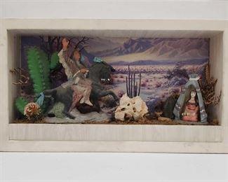 "1085: Native American Scene Shadow Box Diorama Measures approx 6""x31""x18"""
