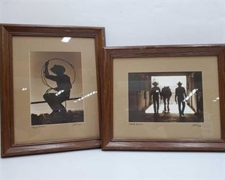"""1086: Two Framed and Signed Prints Titles """"Came the Horsemen"""" and """"Roping the Wind"""" Each measures approx 14"""" x 17"""""""