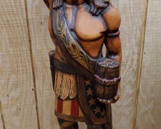 """1045: Native American Chief Wooden Carving Measures approx 50"""""""