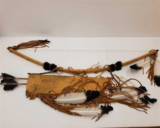 """1051: Authentic Native American Made Bow and Arrows Bow measures approx 44"""" Arrows measure approx 26"""""""