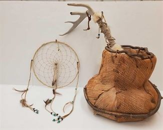 1055: Handwooven Basket, Dream Catcher and Decorative Stick Handwooven Basket, Dream Catcher and Decorative Stick