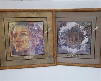 """1087: Two Framed Bev Doolittle Prints Titled: """"The Earth My Mother"""" and """"Sacred Circle"""" Each measures approx 18"""" x 18"""""""