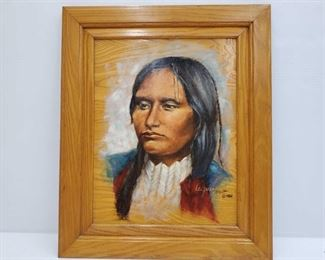 """1088: Native American Painting on Wood - Signed LeAnne Measures approx 21"""" x 17"""""""