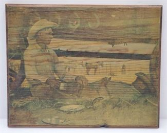 """1089: Wood Stained Wall Art Measures approx 11""""x14"""""""