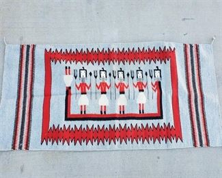 """1032: Hand Wooven Native American Blanket Measures approx 58""""x29"""""""