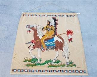 """1041: Native American Tapestry Measures approx 50""""x41"""""""
