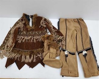 """1095: Childrens Native American Costume Torso measures approx 25"""", arms measure approx 18"""" Pant legs measure approx 26"""", waste measures approx 24"""" Shoes measures approx 7""""x4"""""""