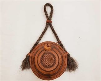 997: Leather Wrapped Canteen with Braided Horse Hair Strap Leather Wrapped Canteen with Braided Horse Hair Strap