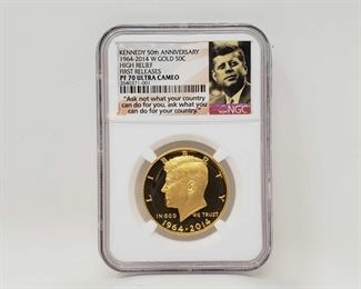 2000:3/4 oz. .999 Gold John F Kennedy 50th Anniversary 1964-2014 Coin NGC Graded PF 70 Ultra Cameo in casing