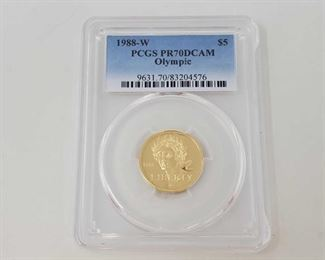 2012: .900 Gold 1988-W Liberty Olympic $5 Coin, 8.36g - PCGS Graded PCGS Graded PR70DCAM In protective case