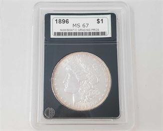 2050: 1896 Morgan Silver Dollar - NGP Graded Philadelphia Mint NCP Graded MS67