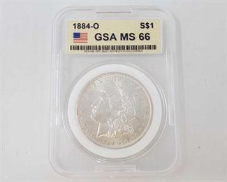 2051: 1884-O Morgan Silver Dollar - GSA Graded New Orleans Mint GSA Graded MS66