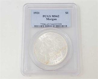 2053: 1921 Morgan Silver Dollar - PCGS Graded PCGS MS62 Philadelphia Mint