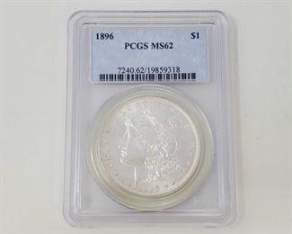 2054: 1896 Morgan Silver Dollar - PCGS Graded PCGS Graded MS62 Philadelphia Mint