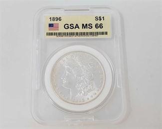 2055: 1896 Morgan Silver Dollar - GSA Graded GSA Graded MS66 Philadelphia Mint