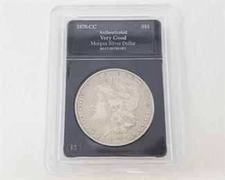 2056: 1878-CC Morgan Silver Dollar - Graded Carson City Mint