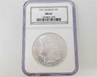 2057: 1921 Morgan Silver Dollar - NCG Graded NGC Graded MS63 Philadelphia Mint