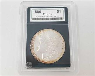 2058: 1886 Morgan Silver Dollar - NGP Graded NGP Graded MS67 Philadelphia Mint