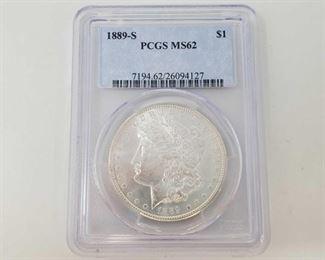 2060: 1889-S Morgan Silver Dollar - PCGS Graded PCGS Graded MS62 San Francisco Mint