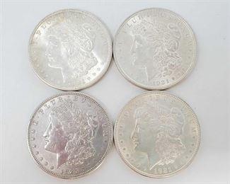 2061: Four 1921 Morgan Silver Dollars All are Philadelphia Mint