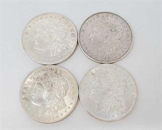 2063: Four 1921 Morgan Silver Dollars All are Philadelphia Mint