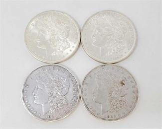 2064: Four 1921 Morgan Silver Dollars Two Philadelphia Mints and Two Denver Mints