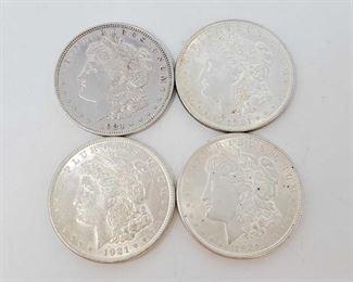 2065: Four 1921 Morgan Silver Dollars All are Philadelphia Mint