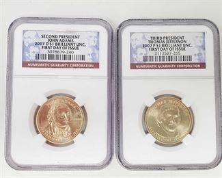 2081: 2007-S $1 John Adams and 2007-P $1Thomas Jefferson Coin Second President John Adams coin 2007-D Brilliant UNC. First day of issue Third President Thomas Jefferson 2007-P $1 brilliant UNC. First day of issue