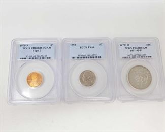 2083: 1979-S Penny, 1958 Nickel and 1991-1995 WWII Commemorative Half Dollar - All Graded 1979-S Penny PCGS Graded PR68RD DCAM, 1958 Nickel PCGS Graded PR66 and 1991-1995-P WWII Commemorative Half Dollar Coin PCGS Graded PR69DCAM