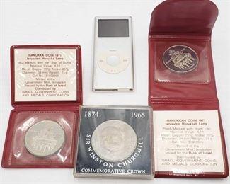 2095: Two 1977 Hanukka Coins, Winston Churchill Commemorative Coin and iPod Nano Two 1977 Hanukka Coins, Winston Churchill Commemorative Coin and iPod Nano