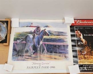 """1095: 2 Posters and 1 Decorative Plate Posters measure approx 26""""x30"""" to 27""""x19"""" Plate Marked Dance Smartly Pat Day Up by Fred Stone"""