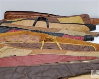 """883: 10 Leather Rifle Cases Measures range from 42"""" -55"""""""