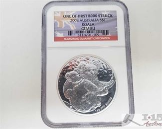 #2022 • .999 Fine Silver 2008 $1 Australian Koala Coin - NGC Graded  NGC Graded  GEM BU One of First 8000  Struck in protective casing