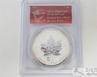 2023 • .999 Fine Silver 2012 $5 Maple Leaf 1oz Coin with Dragon Privy Mark - PCGS Graded PCGS Graded SP Gem Reverse proof in casing