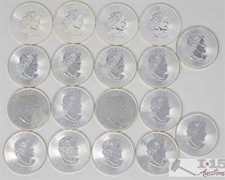 #2024 • Eighteen .9999 Fine Silver Maple Leaf $5 Coins Fifteen 2015, TWO 2012 and one 2016 in protective cabs year 2012