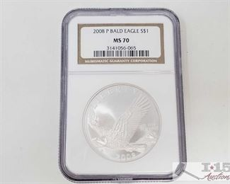 #2025 • .900 Silver 2008-P $1 Bald Eagle Coin - NGC Graded MS70 in protective casing