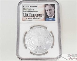 #2027 • .900 Silver 2015-W $1 March of Dimes Set 1oz Coin - NGC Graded PF 70 Ultra cameo in protective casing