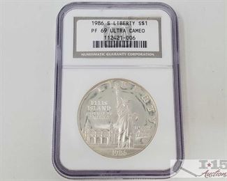 #2030 • .900 Silver 1986-S Liberty $1 Coin - NGC Graded PF69 ultra cameo in protective casing